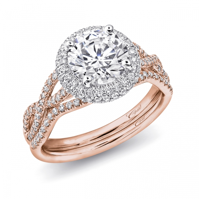 RING LC5438RG | BAND WC5438RG. This exquisite engagement ring features a  round white gold ...